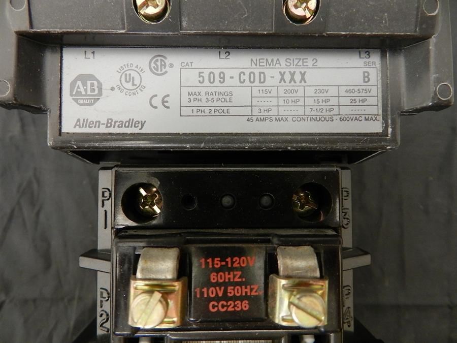509 Cod Xxx Allen Bradley Magnetic Starter